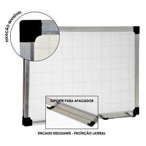 Quadro Branco Quadriculado Plus moldura de alumínio